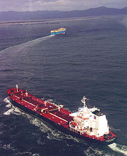 Pix of tanker crossing the Columbia Bar