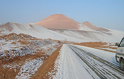 Mountains outside Turpan, three hours' drive from Urumqi, in temperatures of -35C