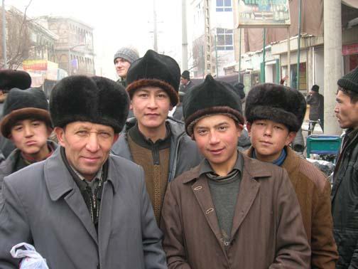 Uyghur men in Kashgar souk