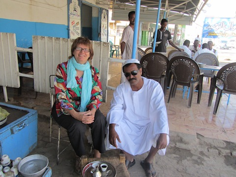 Pix Alison Bate and Sudanese man in Kassala