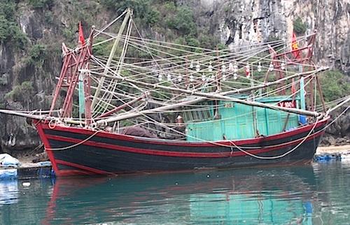 Colorful boat in Lan Ha Bay, Vietnam