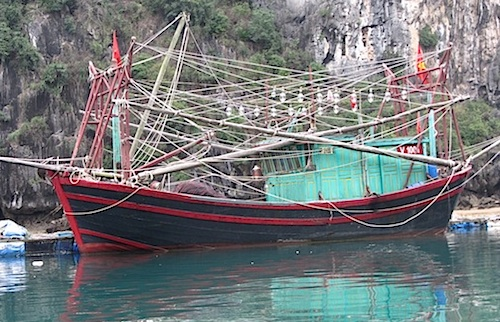 Colorful boat in Lan Ha Bay, Vietnam