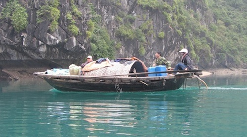 Travelling in Lan Ha Bay, near Ha Long Bay, Vietnam