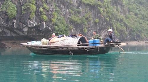 Travelling in Lan Ha Bay, near Ha Long Bay, Vietnam